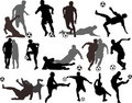 Vector Soccer Players Silhouettes Royalty Free Stock Images