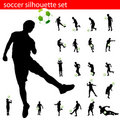 Vector soccer silhouette set Royalty Free Stock Images