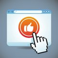 Vector social media concept browser window with like button Royalty Free Stock Photos