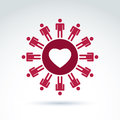 Vector society donation symbol compassion and love sign people standing around the loving heart save life social icon Stock Images