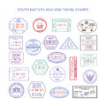 Vector south eastern asia color travel visa stamps set