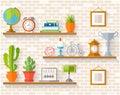 Vector souvenirs and home decor the shelves