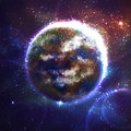 Vector space background with Earth planet Royalty Free Stock Photo