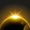 Vector Space Background with rising sun, earth, planet, sunrise