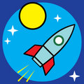 Vector space sci-fi retro rocket illustration Stock Photo