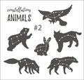 Vector space set with cosmic animals. Hand drawn silhouettes of animals in hipster style. Royalty Free Stock Photo