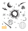 Vector space set. Sun, moon, Earth, stars. Royalty Free Stock Photo
