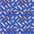 Vector spaceship technology ship rocket space vehicle shuttle cartoon seamless pattern background Royalty Free Stock Photo