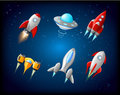 Vector spaceship and UFO vector set in cartoon style. Rocket and spacecraft, futuristic transportation, collection ship