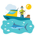 Vector Spearfishing. Fishing. Flat style colorful Cartoon illustration.