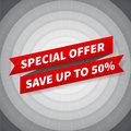 Vector special offer banner on black circle background Royalty Free Stock Photo