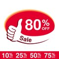 Vector special sale offer. Red tag with best choice. Discount offer price label with hand gesture. Sticker of 80 % off.