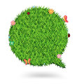 Vector speech bubble green grass texture backgroun background ecological concept illustration template design Royalty Free Stock Photos