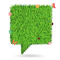Vector speech bubble green grass texture backgroun background ecological concept illustration template design Stock Photography