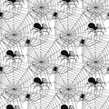 Vector spider web silhouette spooky spiders seamless pattern background halloween cobweb decoration fear spooky net. Royalty Free Stock Photo