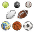 Vector sport balls sketch icon set Stock Photography