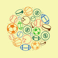 Vector sport concept balls and icons Royalty Free Stock Images