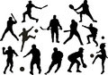Vector sport silhouettes of different sportsmen on a white background Stock Images