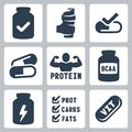 Vector sport supplements icons set isolated Royalty Free Stock Images