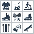Vector Sports Goods Icons Set