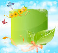 Vector spring banner with leaves, grass, ribbons Royalty Free Stock Photo