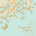 Vector spring floral greeting vintage card blooming sakura branch with butterflies on mint background Royalty Free Stock Photography