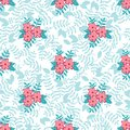 Vector spring floral seamless pattern background leaves flowers