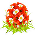 Vector spring flowers in the shape of Easter egg Royalty Free Stock Images