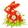 Vector spring flowers in the shape of Easter Rabbi Royalty Free Stock Image