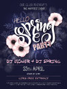 Vector spring party poster with lettering, anemone flowers, doodle branches and luminosity flares