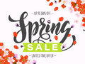 Vector spring sale poster with hand drawn title