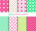 Vector spring seamless patterns collection. Soft repeated textures. Geometric backgrounds set. For cute wallpapers, wrapping paper