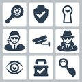 Vector spy and security icons set magnifying glass shield heyhole man surveillance camera Royalty Free Stock Photo
