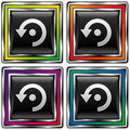Vector square button with computer refresh icon Royalty Free Stock Image