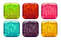 Vector square colorful slime buttons set isolated on white Stock Photo