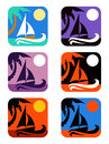 Vector square icons set tropical emblems
