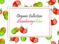 Vector square label, strawberry and kiwi jam or juice Royalty Free Stock Photo