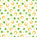 St. Patrick`s day seamless pattern with shamrock, gold coins and horseshoes. Vector illustration.