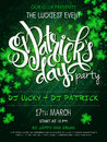 Vector st Patricks day party poster with lettering, clover leaf and branches