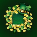 Vector St Patricks Day poster. Irish design elements: Leprechaun hat, clover, gold coins, empty text place on wood frame