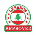 Vector Stamp of Approved logo with Lebanon Flag in the round shape on the center