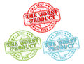 Vector stamps grunge the worst product illustration on white background easy color Royalty Free Stock Photos