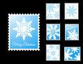 Vector Stamps with snowflakes Royalty Free Stock Images