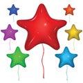 Vector Star Balloon. Color set. Royalty Free Stock Photo