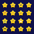 Vector star emoticons collection. Cute emoji set