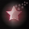 Vector Star Glass with red frame on metal background Royalty Free Stock Image