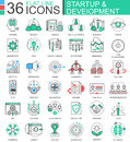 Vector Startup and development modern color flat line outline icons for apps and web design.