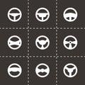 Vector steering wheels icon set Royalty Free Stock Photo