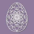 Vector Stencil lacy Easter egg with carved openwork pattern.