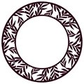 Vector Stencil lacy round frame with carved floral openwork patt